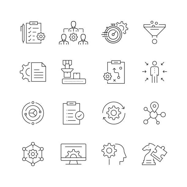 製品管理-細い線のベクトルアイコンのセット - 金融と経済点のイラスト素材/クリップアート素材/マンガ素材/アイコン素材