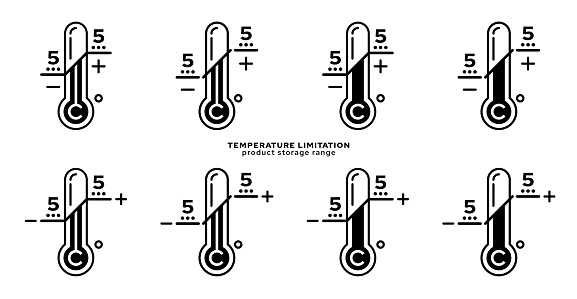 Product packaging labeling - temperature limitation. The thermometer sign with temperature values is a symbol for the storage range of the product. Vector elements.