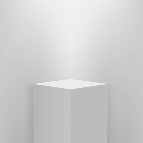 illustrazioni stock, clip art, cartoni animati e icone di tendenza di product presentation podium, white stage, empty white pedestal, blank template mockup. vector - piedistallo