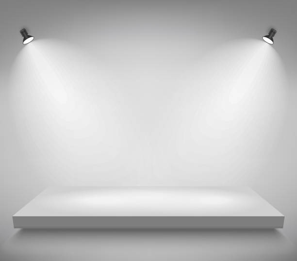 Product presentation podium, white stage, Empty white pedestal, blank template mockup. vector Light stage platform with spotlights, Product presentation podium illuminated with light, empty space, white pedestal, blank template mockup. vector showroom stock illustrations