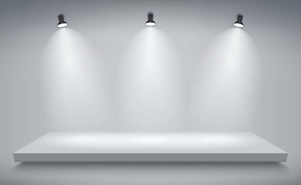 stockillustraties, clipart, cartoons en iconen met product presentatie podium, witte podium, lege witte sokkel, lege sjabloon mockup. vector - toneel
