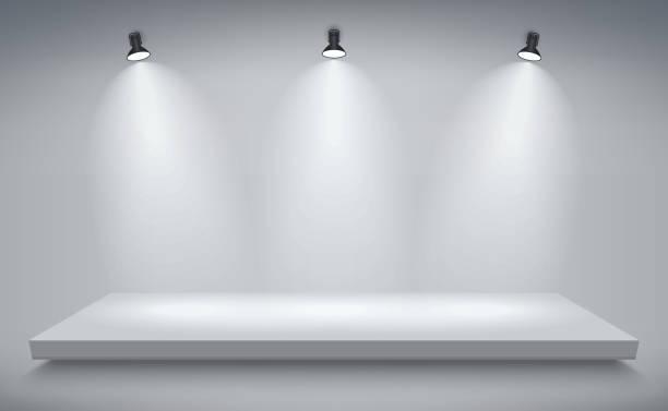 ilustrações de stock, clip art, desenhos animados e ícones de product presentation podium, white stage, empty white pedestal, blank template mockup. vector - palco