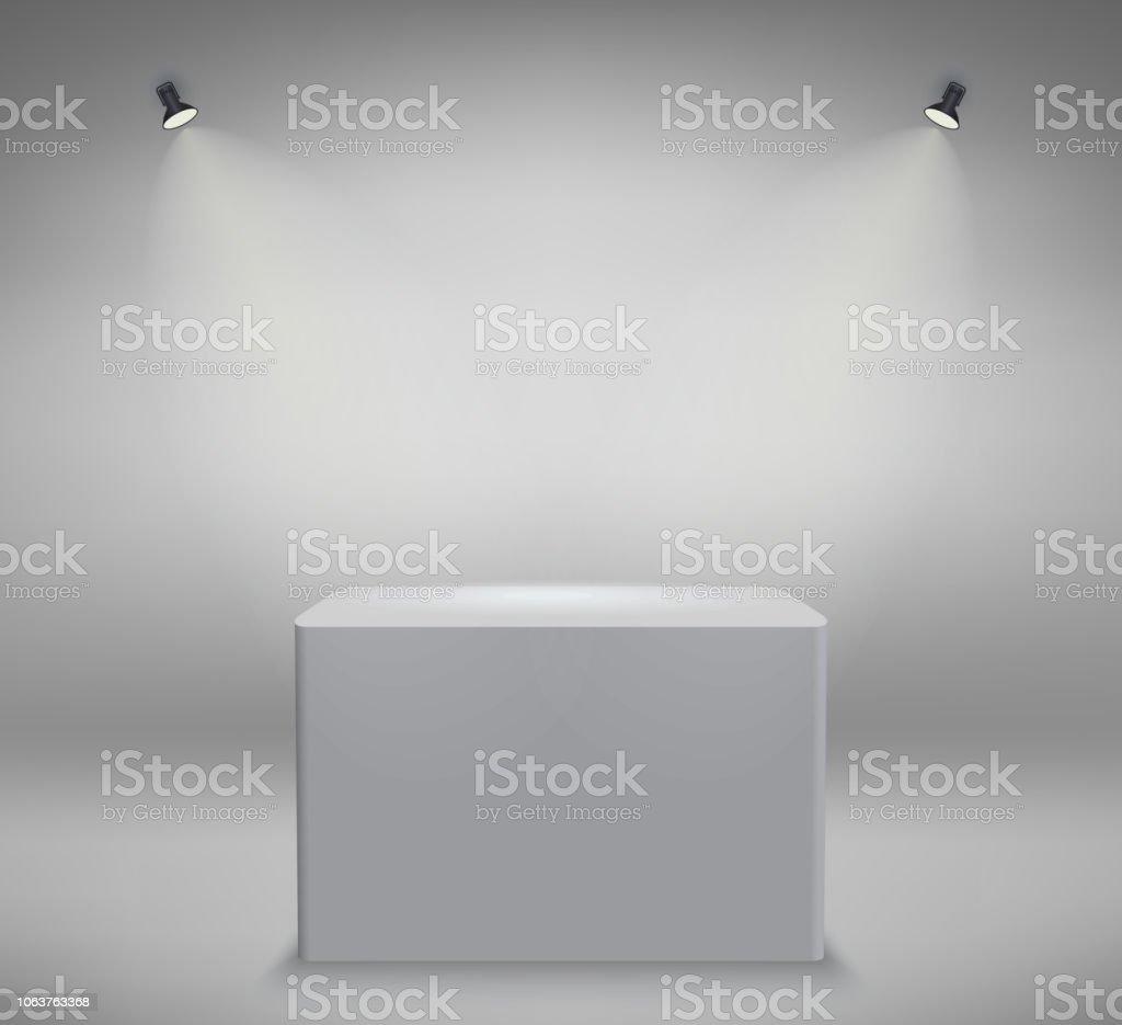 product presentation podium white stage empty white pedestal blank