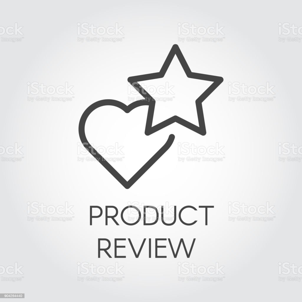 Product Review Icon Star And Heart Rating Symbols Review And