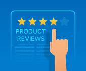 Hand pointing to star rating on a product review to help make buying decisions.