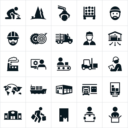 A set of icons depicting the product supply chain from raw materials to supplier to manufacturing and shipping and finally to the end user.