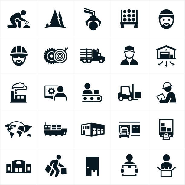 ikony łańcucha dostaw produktów - drewno tworzywo stock illustrations