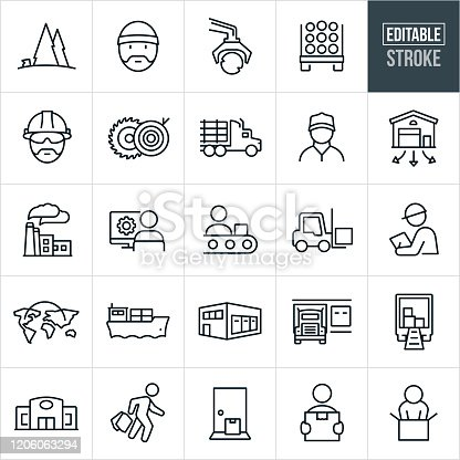 A set of product supply chain icons that include editable strokes or outlines using the EPS vector file. The icons include the supply chain from raw materials to production to shipment to receiving. They include logging, raw materials, lumber truck, sawmill, manual worker, distribution warehouse, factory, assembly line, product design, forklift, engineer, global shipping, barge, trucking, delivery, store, shopper, package delivery to door and a customer receiving product.