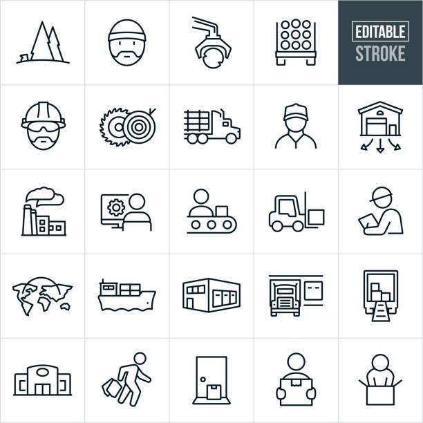 ilustraciones, imágenes clip art, dibujos animados e iconos de stock de iconos de línea fina de la cadena de suministro del producto - trazo editable - manufacturing