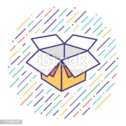 Flat line vector icon illustration of product unboxing with abstract background.