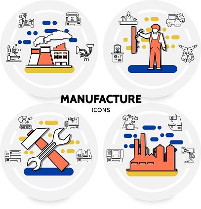 Production Et Fabrication Concept Vecteurs libres de droits et plus d'images vectorielles de Automatisé