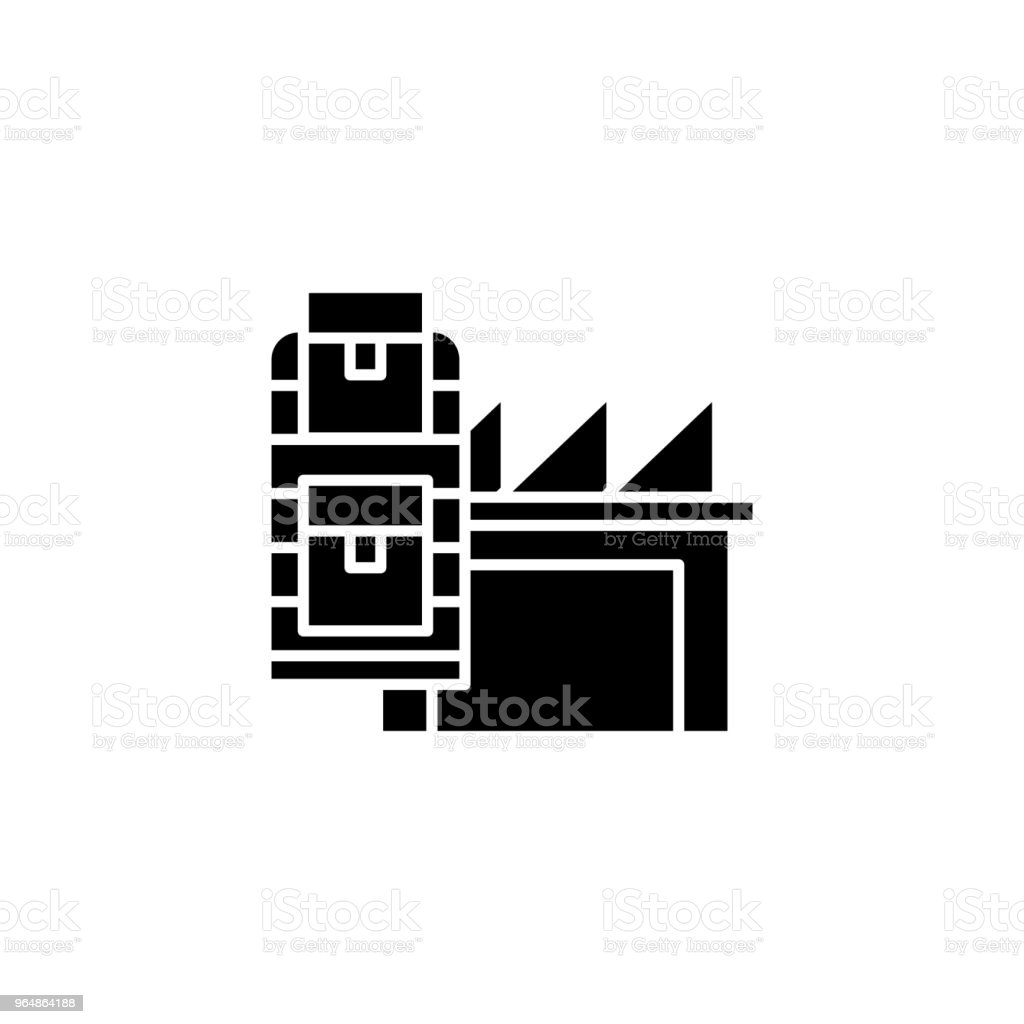 Production assets black icon concept. Production assets flat  vector symbol, sign, illustration. royalty-free production assets black icon concept production assets flat vector symbol sign illustration stock vector art & more images of architecture