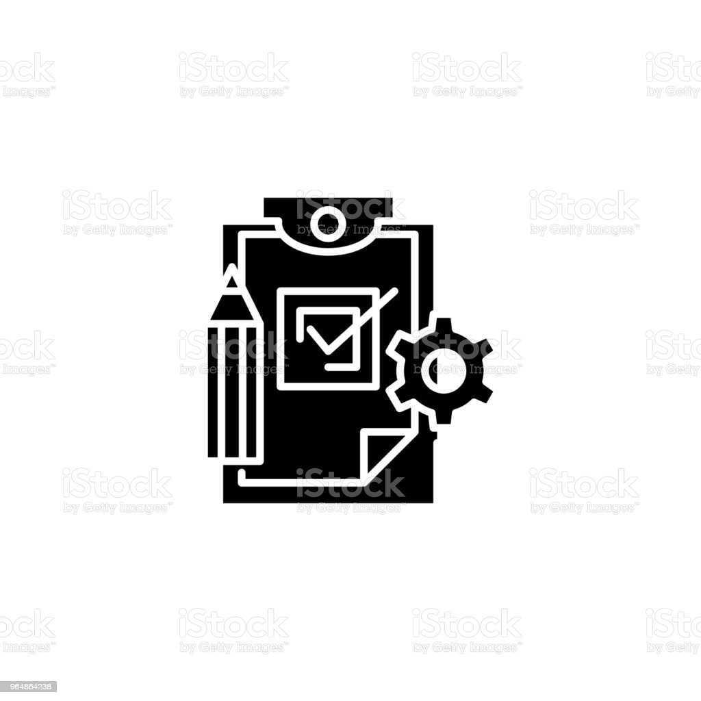 Production control black icon concept. Production control flat  vector symbol, sign, illustration. royalty-free production control black icon concept production control flat vector symbol sign illustration stock vector art & more images of award