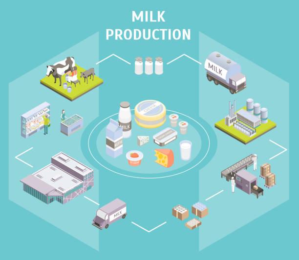 生産牛乳の概念を提供する 3 d 等角図であります。ベクトル - 乳製品点のイラスト素材/クリップアート素材/マンガ素材/アイコン素材