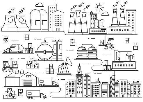 Production Industry City thin line Art vector