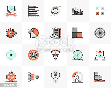 Flat line icons set of agile development, quality control process. Unique color flat design pictogram with outline elements. Premium quality vector graphics concept for web, logo, branding, infographics.