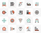 Flat line icons set of agile development, quality control process. Unique color flat design pictogram with outline elements. Premium quality vector graphics concept for web, logo, branding, infographics.