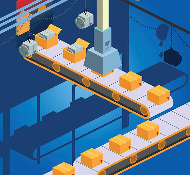 production line vector art illustration