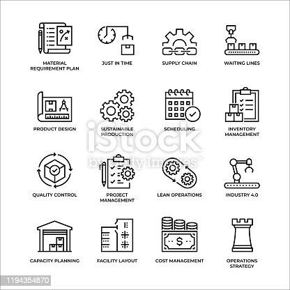 Production Management Thin Line Icon Set - unique style of icons