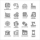 Production Management Outline Icon Set