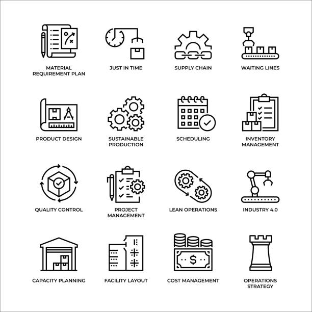 illustrazioni stock, clip art, cartoni animati e icone di tendenza di set di icone della struttura di gestione della produzione - bancarella