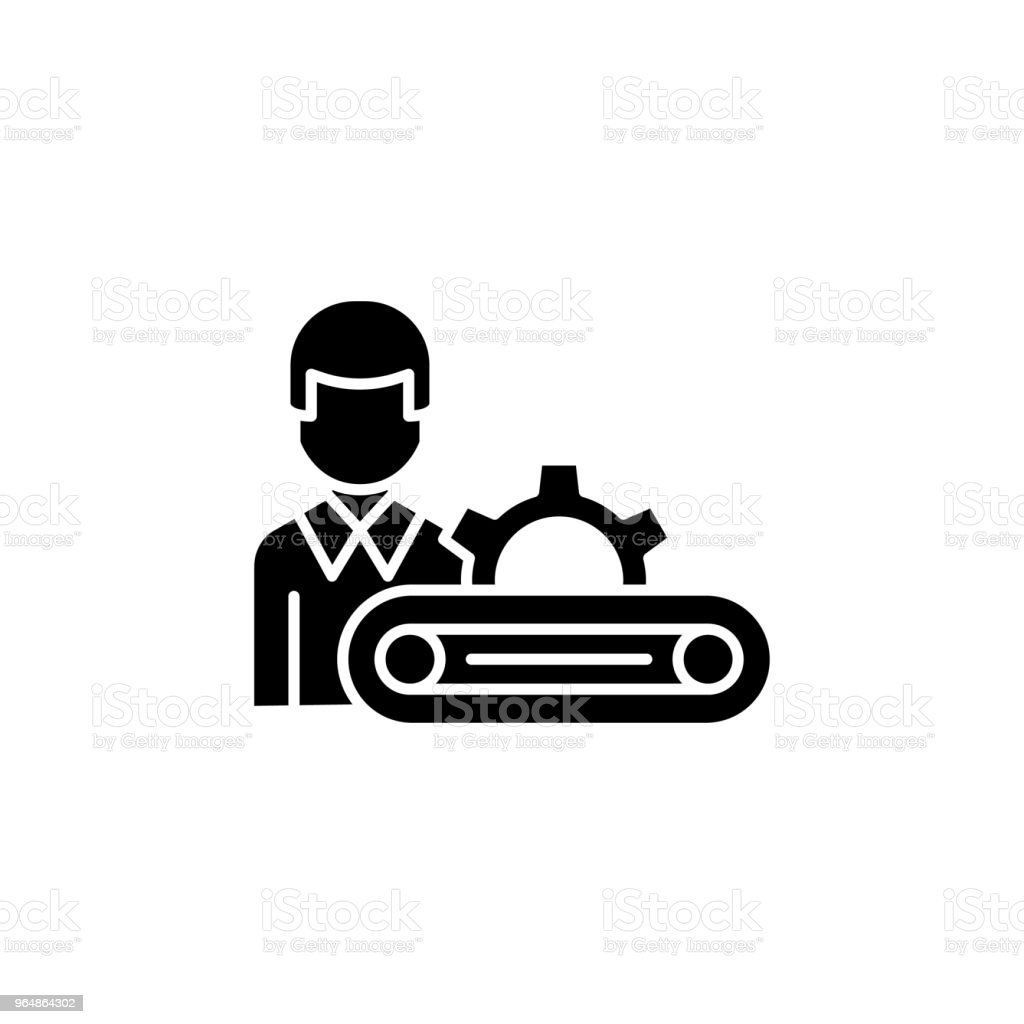 Production manager black icon concept. Production manager flat  vector symbol, sign, illustration. royalty-free production manager black icon concept production manager flat vector symbol sign illustration stock vector art & more images of analyzing