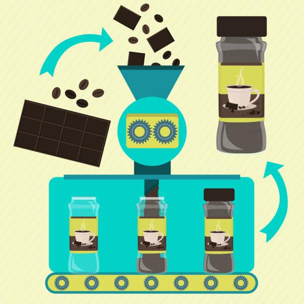 ilustrações de stock, clip art, desenhos animados e ícones de production of canned coffee and chocolate powder - café solúvel