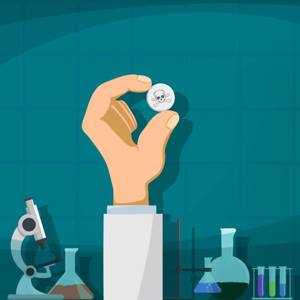 stockillustraties, clipart, cartoons en iconen met productie van drugs - amfetamine