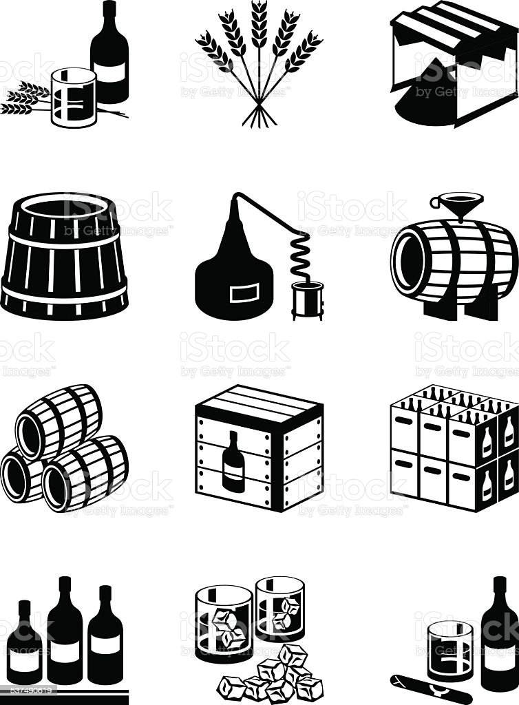 Production of whiskey and brandy vector art illustration