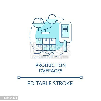 istock Production overages and usage limits concept icon. 1331424836
