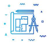 istock Production Plan Line Style Icon Design 1154839366