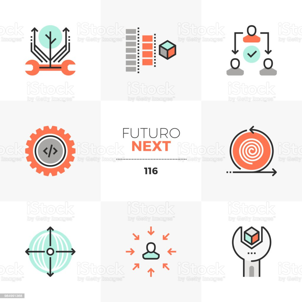 Production Process Futuro Next Icons vector art illustration