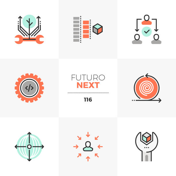 Production Process Futuro Next Icons Modern flat icons set of agile development, project production process. Unique color flat graphics elements with stroke lines. Premium quality vector pictogram concept for web, branding, infographics. cycle vehicle stock illustrations