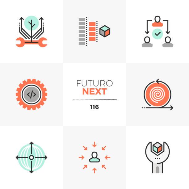 produktion prozess futuro nächsten symbole - it manager stock-grafiken, -clipart, -cartoons und -symbole