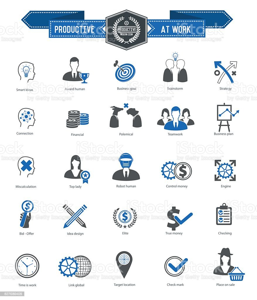 Productive at work icon set,clean vector vector art illustration