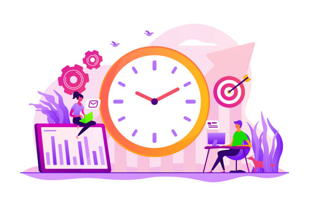 Productivity concept vector illustration Time management and workflow organization. Work planning and scheduling. Productivity improvement, efficiency of production, qualification concept. Vector isolated concept creative illustration qualification round stock illustrations