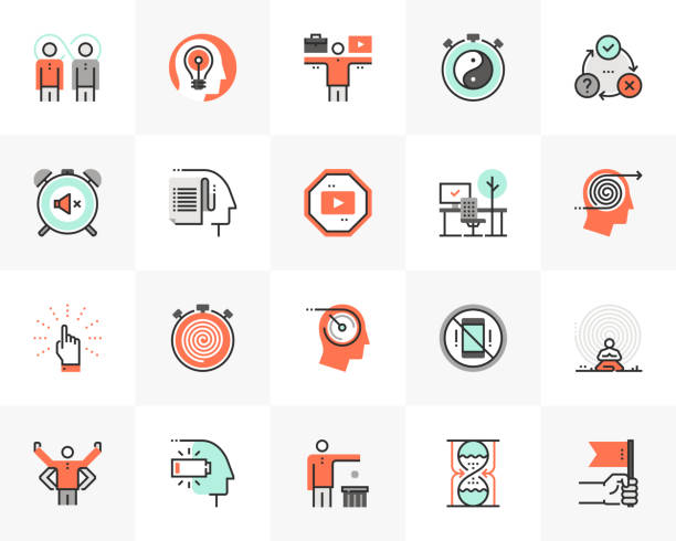 Productivity Futuro Next Icons Pack Flat line icons set of proactive personality, productive workflow. Unique color flat design pictogram with outline elements. Premium quality vector graphics concept for web, logo, branding, infographics. mental burnout stock illustrations