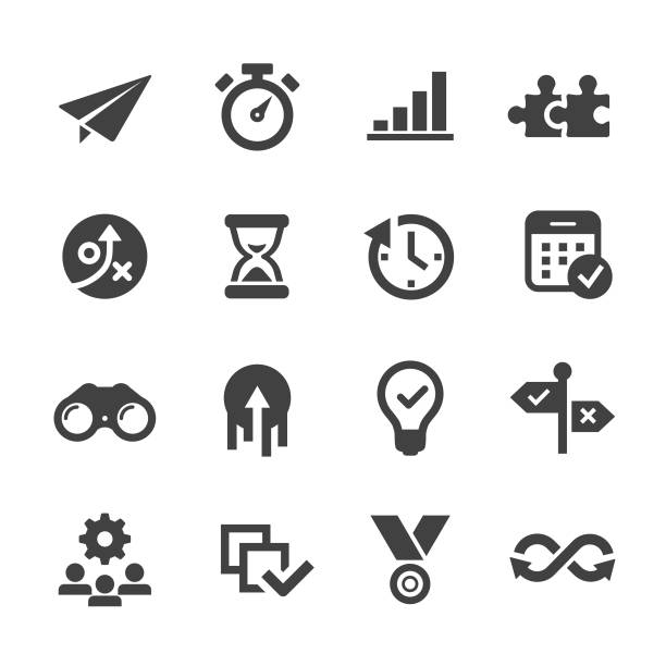 Productivity Icons - Acme Series Productivity, Efficiency, Growth, paper airplane stock illustrations