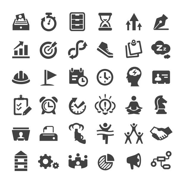 productivity icons - big series - meditating stock illustrations