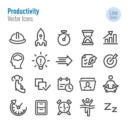 Productivity Icons Set - Vector Line Series