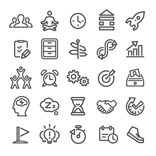 bildbanksillustrationer, clip art samt tecknat material och ikoner med produktivitet ikoner - smart line serien - work stress
