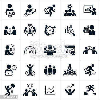 A set of black productivity icons. The icons include business people working at computer, moving forward and up in their careers, running with a briefcase, a business team with cog, business person giving presentation, making a deal, in a conference meeting, making money, juggling, money goals, high five, on the clock, achieving success, holding a lightbulb and jumping a canyon to name just a few of the different concepts illustrated.