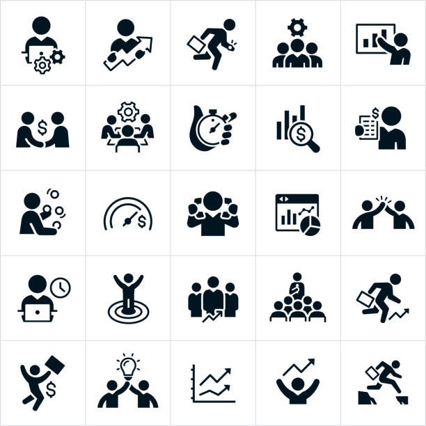 Productivity Icons A set of black productivity icons. The icons include business people working at computer, moving forward and up in their careers, running with a briefcase, a business team with cog, business person giving presentation, making a deal, in a conference meeting, making money, juggling, money goals, high five, on the clock, achieving success, holding a lightbulb and jumping a canyon to name just a few of the different concepts illustrated. conceptual symbol stock illustrations
