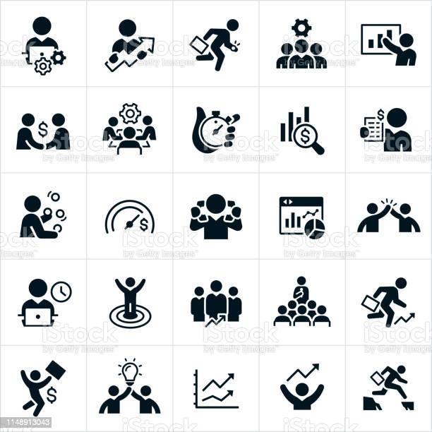 Productivity Icons - Arte vetorial de stock e mais imagens de A usar um telefone