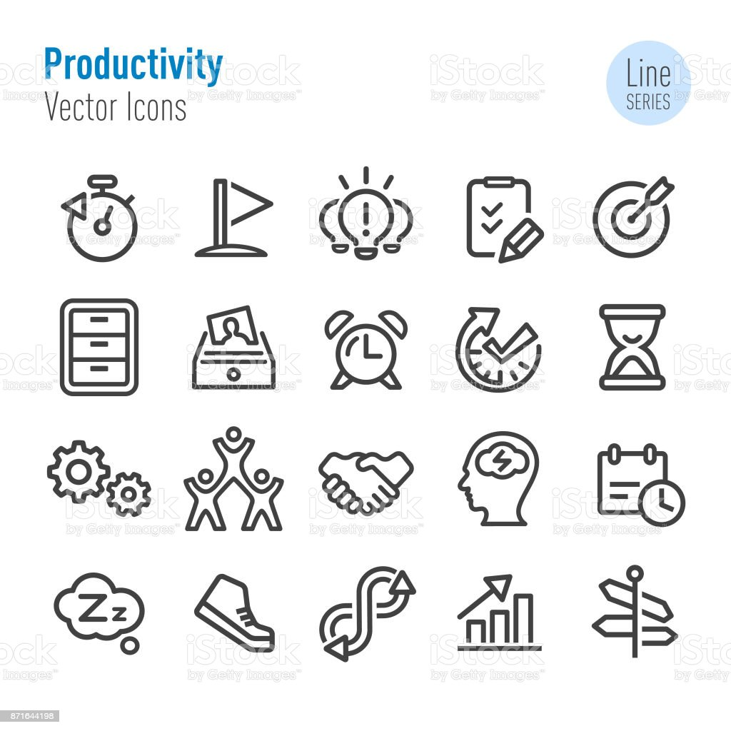 Produktivität-Icons - Vektor-Line-Serie – Vektorgrafik