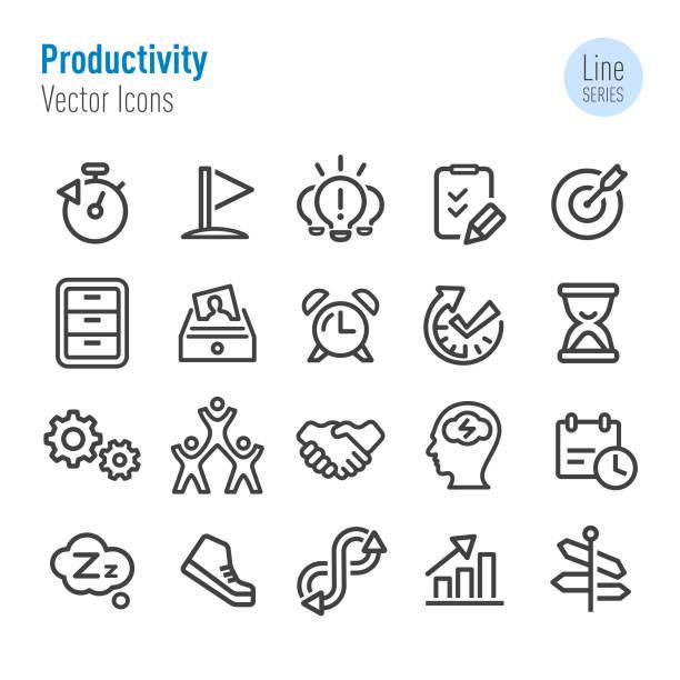 produktivität-icons - vektor-line-serie - anfang stock-grafiken, -clipart, -cartoons und -symbole