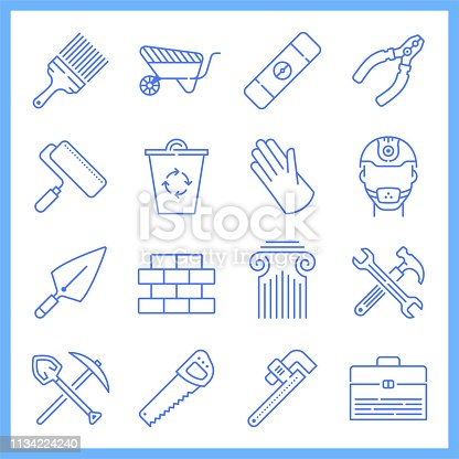 Modern productivity improvement in construction blueprint style concept outline symbols. Line vector icons set for infographics and web designs.