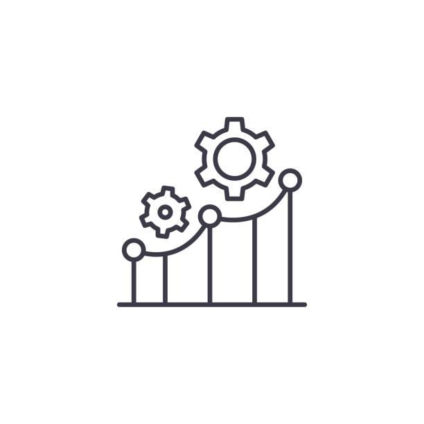 生產率指標線性圖示概念。生產率指標線向量符號, 符號, 插圖。向量藝術插圖