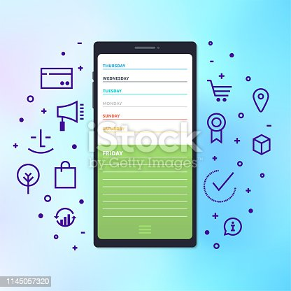 Productivity and international competition concept illustration on holographic style gradient background. Vector design elements for infographics, mobile or web page designs.