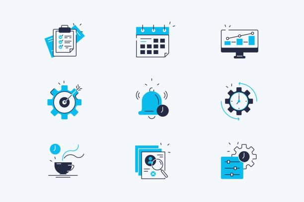 ilustraciones, imágenes clip art, dibujos animados e iconos de stock de conjunto de iconos de línea de productividad - training